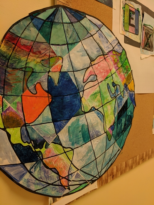 4th grade made a patchwork pattern of the world.