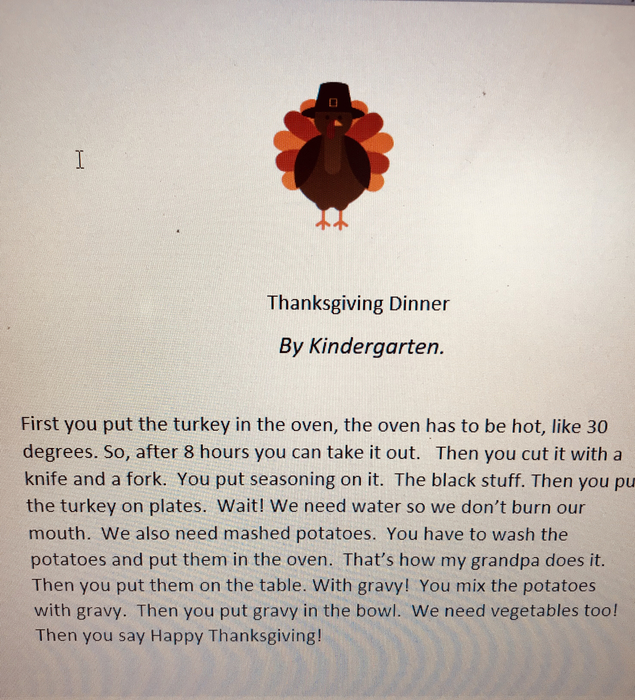 The Kindergarten class is ready for Thanksgiving!